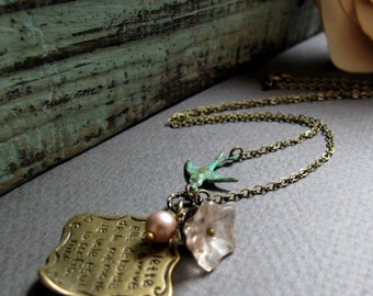 Vintage Bird Necklace, Love Letter Pendant, Antique Gold Brass, Whimsical Flower Charm Necklace - RENDEZ VOUS