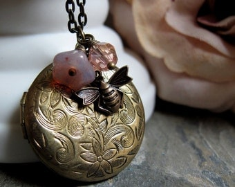 Bumble Bee Locket, Round Brass Locket, Antique Gold, Pink Flower Charms, Vintage Style, Long 28 Inch Chain - MY HONEY