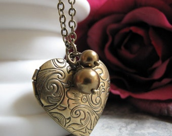Gold Heart Locket, Vintage Pearl Locket Necklace, Brass Chain Long Locket Heart Necklace - JULIET