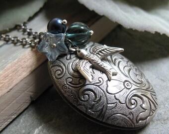 Bird and Locket Necklace, Antique Silver Locket, Vintage Inspired Necklace Locket, Blue - SPARROW'S INTRIGUE