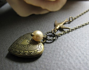 Small Heart Locket, Antique Gold Brass Necklace, Sparrow, Ivory Pearl, Vintage Style, 18 Inch Chain - ADORE
