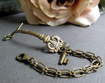 Secrets - Cuff Bracelet, Antique Gold Brass, Victorian, Skeleton Key Charm, Chain, Vintage