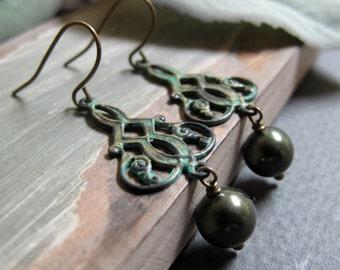 Viridian - Dangle Earrings, Brass, Verdigris Patina,  Dark Olive Green Pearls, Vintage