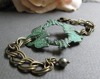 Dublin - Celtic Cuff Bracelet, Antique Gold Brass, Rustic Green Verdigris Patina, Double Link Chain, Vintage