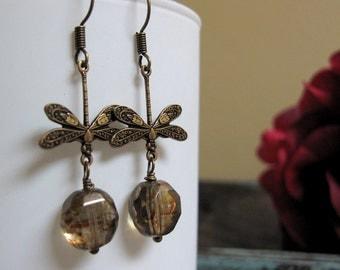 River Bend - Dangle Earrings, Dragonfly, Antique Gold Brass, Mocha Crystals, Vintage