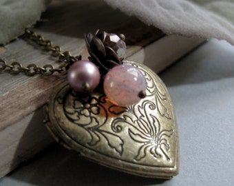 The Romantic - Locket, Medium Heart Shaped, Antique Gold Brass, Floral, Pink Charms, Vintage, Long 28 Inch Chain
