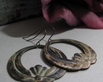 Crest - Lotus Hoop Earrings, Brass Stamping, Teal Green Verdigris Patina, Aged Metal, Vintage