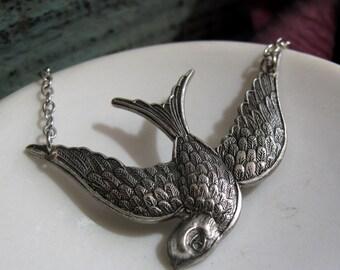 Silver Bird Necklace Pendant, Vintage Inspired Sparrow Necklace, Antique Silver Bird in Flight - OFFERING