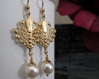 Vintage Gold Brass Earrings, Pearl Dangle Earrings, Lotus Flower Brass Filigree Earrings, Bridal - GLAMOUR