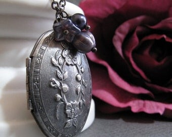 Floral Locket Necklace, Antique Silver Oval Locket, Purple Charms, Vintage Style, Long 28 Inch Chain - CUVEE