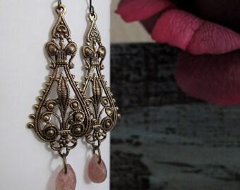 Merci - Dangle Earrings, Antique Gold Brass Filigree, Pink Star Quartz Teardrop, Vintage