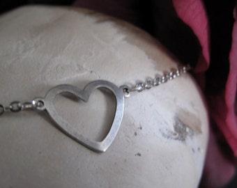 Silver Heart Necklace Pendant, Small Heart Pendant, Antique Silver Small Heart Necklace - SWEET HEART