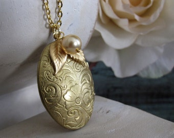 Gold Locket, Antique Long Necklace Locket, Leaf Pearl Locket Floral Necklace, Long Chain - GOLD LEAF
