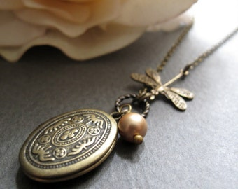 Dragonfly Necklace Locket, Small Oval Locket, Antique Gold Brass Locket, Vintage Inspired Necklace - DRAGONFLY