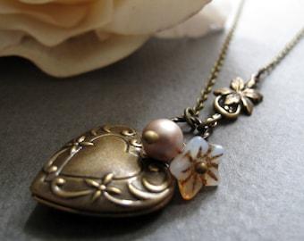 Gold Heart Locket, Antique Brass Vintage Inspired Necklace Locket, Flower Locket Heart, Pearl Charm - PRALINE