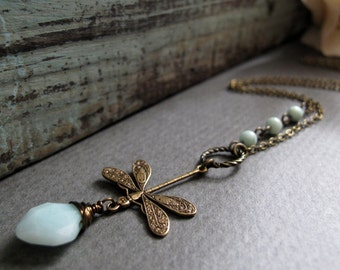 Dragonfly Necklace Pendant, Dragonfly Jewelry Blue Amazonite, Antique Gold Brass Vintage Dragonfly Necklace - LAGOON