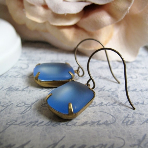 Square Vintage Jewels, Dangle Earrings, Blue Sea Glass, Brass