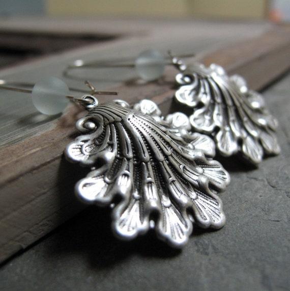Silver Shell Earrings, Antique Silver Sea Shell Jewelry, Sea Glass Earrings Shells - SIREN