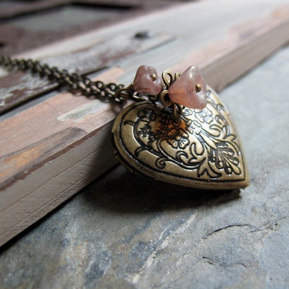 Heart in Bloom - Locket, Medium Heart Shaped, Antique Gold Brass, Floral, Pink Flowers, Vintage, Long 28 Inch Chain