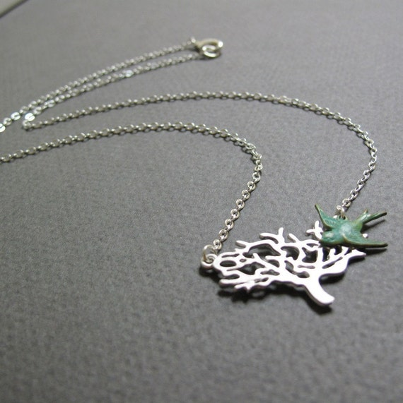 Bird Tree Necklace Pendant, Silver Tree, Turquoise Blue Bird Necklace, Modern Vintage - ENCHANTED