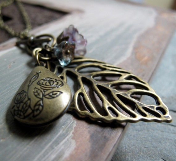 Leaf Pendant Locket Necklace, Antique Gold Vintage Long Locket, Purple Necklace Flower Charms - AUTUMN LEAVES