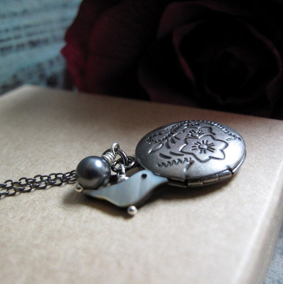 Whimsy - Locket, Small Round, Antique Silver, Bird Charm, Gray Pearl, Vintage, 18 Inch Gunmetal Chain