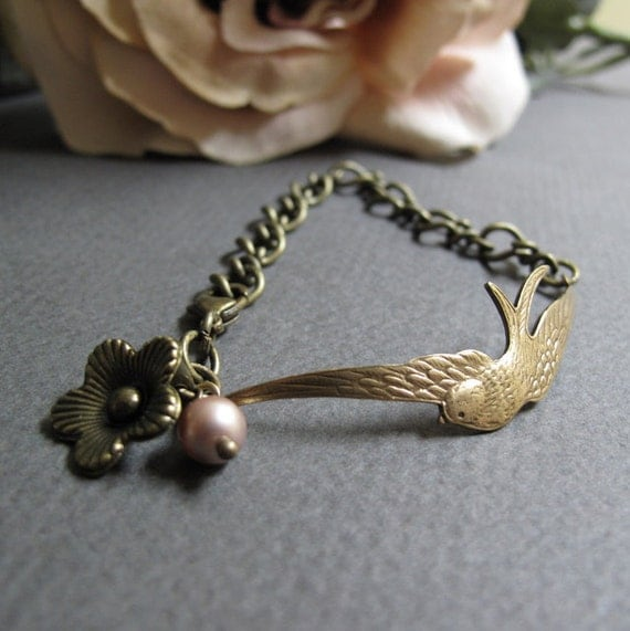 The Offering - Sparrow Cuff Bracelet, Antique Gold Brass, Chain, Flower Charm, Pink Pearl, Vintage