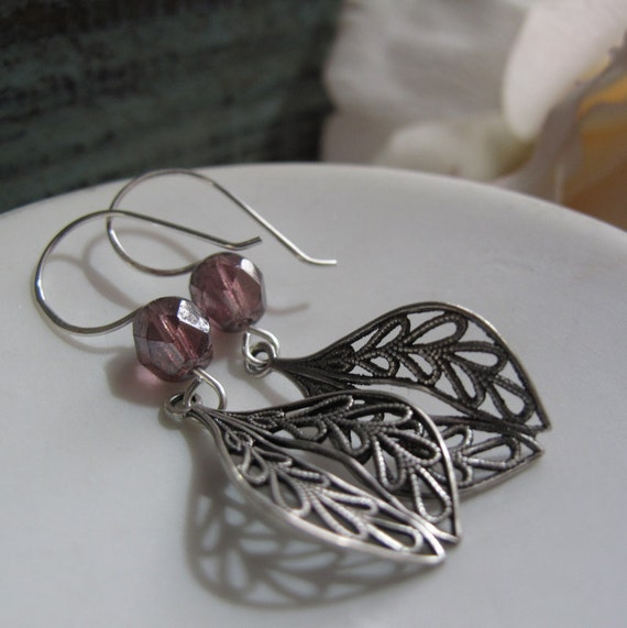 Elle - Dangle Earrings, Antique Silver, Filigree, Purple Crystals, Vintage, Sterling Silver Hooks