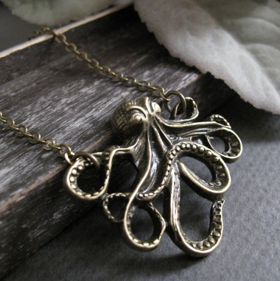 Long Necklace Octopus, Antique Gold Brass, Nautical Pendant Octopus Necklace - TENTACLES