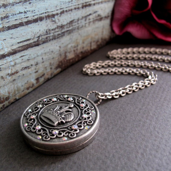 Large Crown Necklace Locket, Vintage Inspired Long Locket, Antique SilverCrown Necklace - ROYALTY