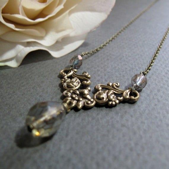 Vintage Inspired Necklace, Antique Gold Floral, Army Green Necklace Pendant, Teardrop Crystal - DE LINDA