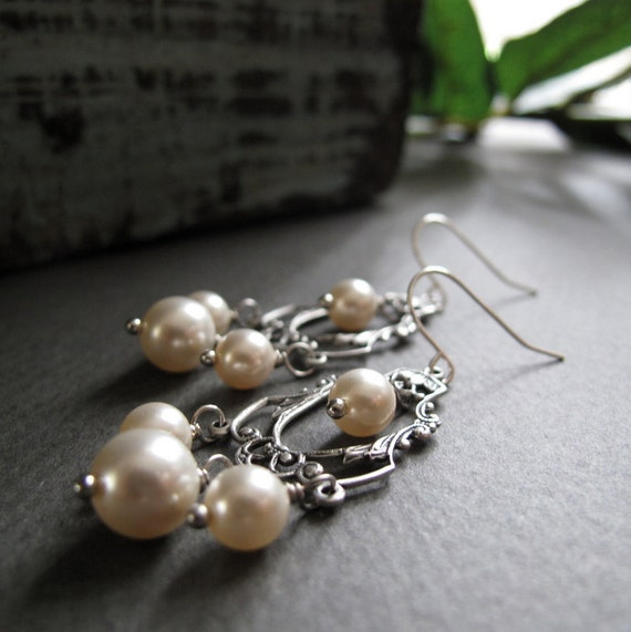 Vintage Inspired Chandelier Earrings Silver, Cream Pearl Earrings, Bridal, Antique Silver Filigree - CHANDELIER