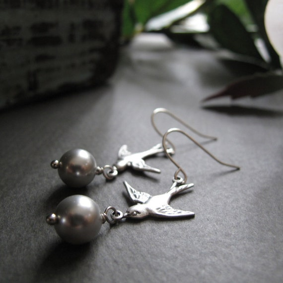 Silver Pearl Earrings, Sparrow Dangle Earrings, Silver Vintage Inspired Bridal Earrings - MESSENGER