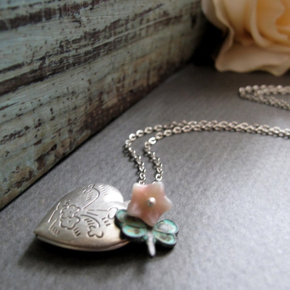 Silver Locket Heart Necklace, Girls Locket Flower Necklace and Dragonfly, Pink and Green Necklace - AWAKEN