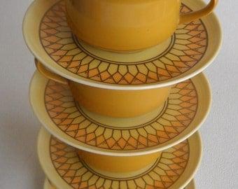vintage - Sunburst Lenotex - Set of cups and saucers