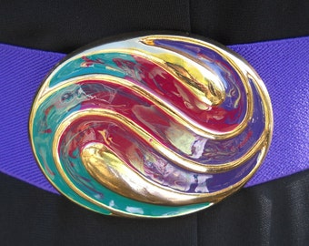 vintage - 1980's Oval enameled buckle and stretchy belt