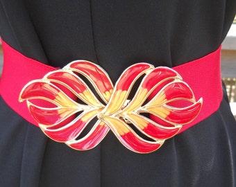 vintage- 1980s red and gold leaf enameled buckle and elastic belt