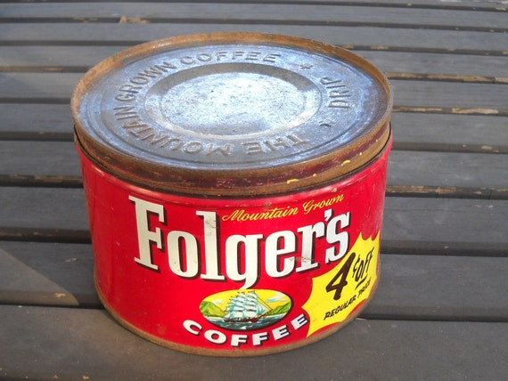 vintage - distressed 1959 Folgers Coffee tin