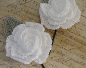 Crocheted Rosette Hairpins made from Cotton Thread  Set of 2