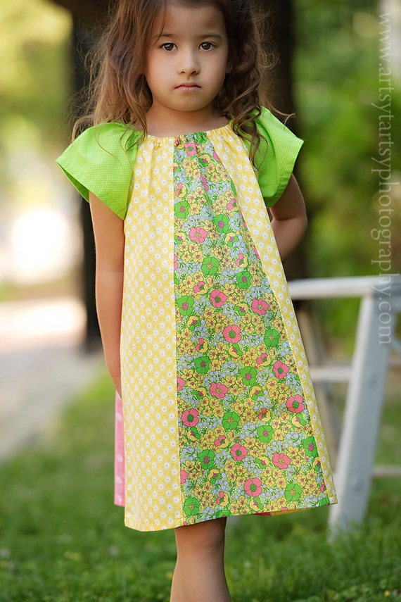 Size 4T - Sunny Days - Retro Girls Peasant Dress - Ready to Ship