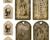 Vintage Halloween Skeleton Tags Instant Digital Download