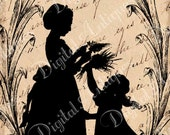 Vintage Edwardian Silhouette Tags Instant Digital Download