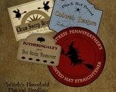 Vintage Halloween Labels Printable Digital Download