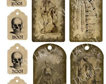 Vintage Halloween Skeleton Tags Instant Digital Download