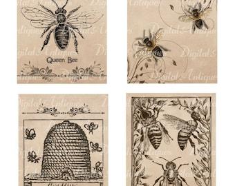 Vintage Bees Printable Images Digital Download