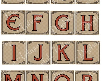 Vintage Circus Red Alphabet Monograms Digital Download