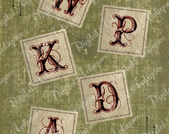 Vintage  Decorative Alphabet Monograms - 1 and 2 inch - Digital Download