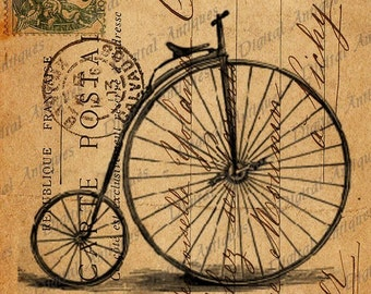 Vintage Bicycle  Post Cards Sepia Image Collage Sheet Digital Download