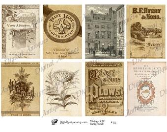 Vintage Sepia ATC Backgrounds Collage Sheet  Digital Download
