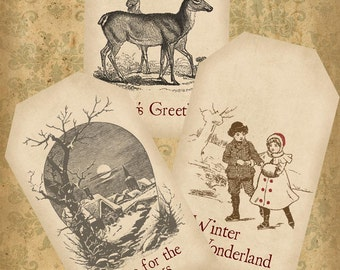 Simple Vintage Christmas Tags Sepia  Printable Digital Download